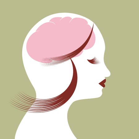 brain clipart: An image of the mind of a woman.