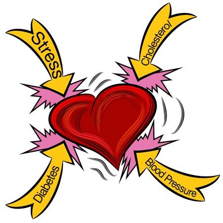 oorzaken: Een afbeelding van een hartaanval. Stock Illustratie