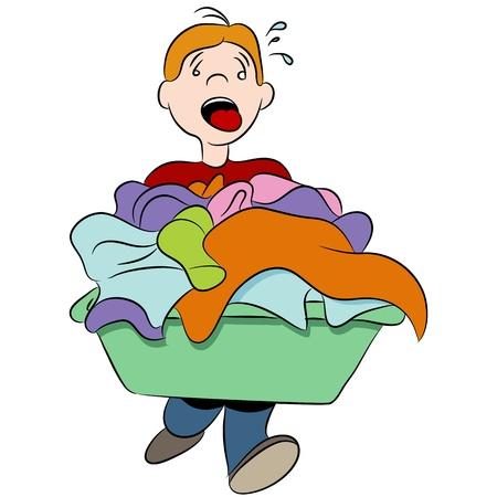 lavanderia: Una imagen de un ni�o que lleva un cesto de la ropa pesada.