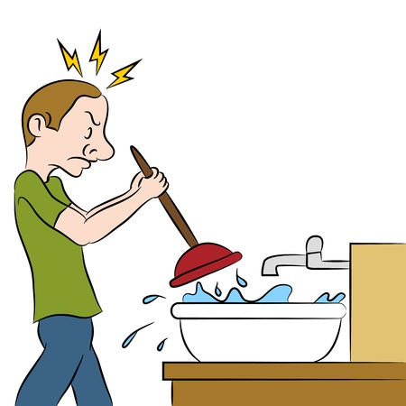 An image of a man using a plunger on clogged sink. Vector
