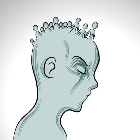 정신 질환을 가진 사람의 이미지. 일러스트