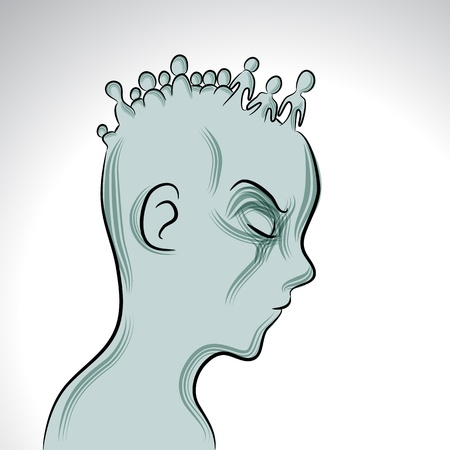 An image of a man with mental illness. Stock Illustratie