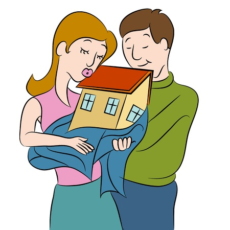An image of a couple holding their new home. Vector