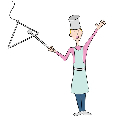 An image of a female cook ringing a dinner bell. Vector