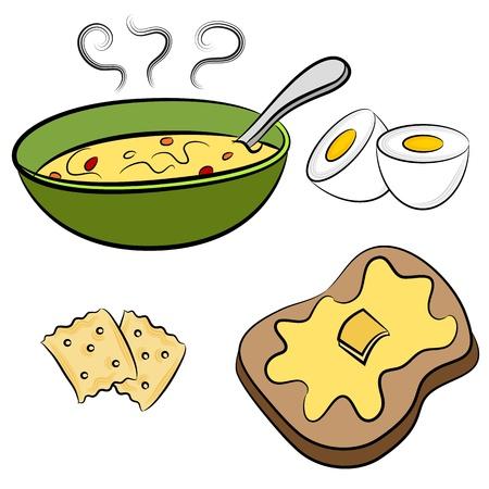 Una imagen de un tazón de sopa, huevo duro, galletas y alimentos almuerzo brindis.