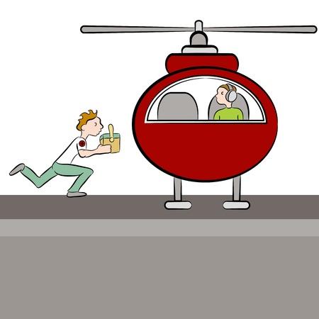 donacion de organos: Una imagen de un médico deliverying un órgano del paciente a un helicóptero.