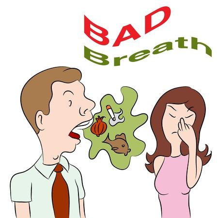 Een beeld van een vrouw die aan een man met een slechte adem.