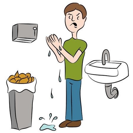 dispenser: An image of a man trying to dry his wet hands in a bathroom.