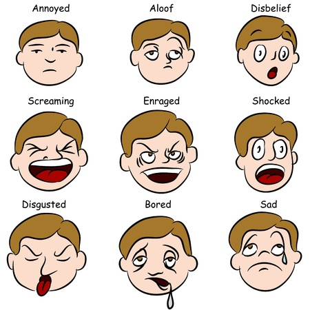 disbelief: An image of a set of facial expressions.