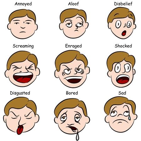 facial: An image of a set of facial expressions.