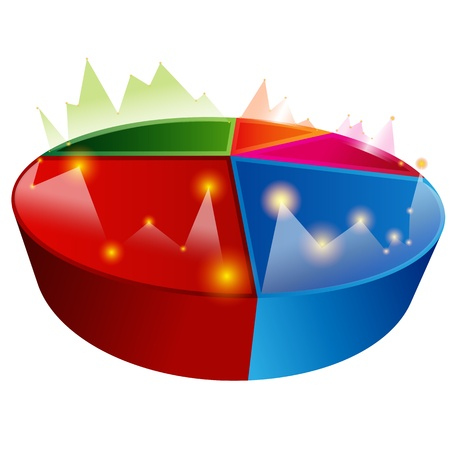 3 point perspective: An image of a line graph pie chart. Illustration