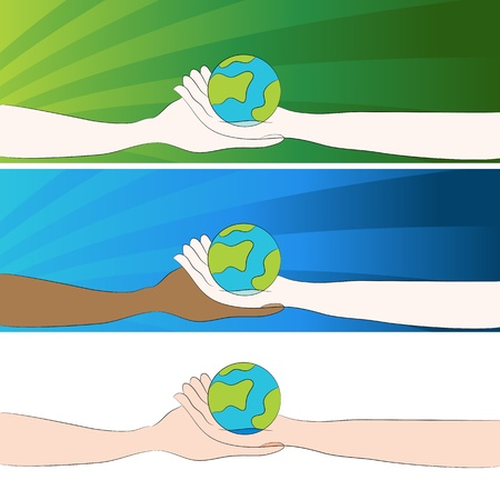 An image of a hands holding a globe banner set. Vector