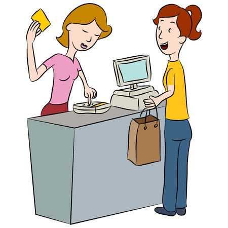 An image of a woman entering her PIN number at a store counter. Vector
