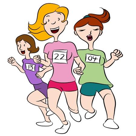 mujeres corriendo: Una imagen de una mujer que se ejecutan en un evento.