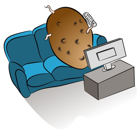An image of a couch potato watching tv. Vector