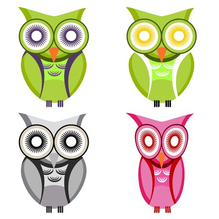 owl illustration: An image of a set of owls.
