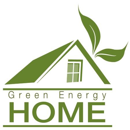 Een afbeelding van een groene energie thuis pictogram. Stock Illustratie