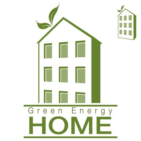 home icon: An image of a green energy apartment home.