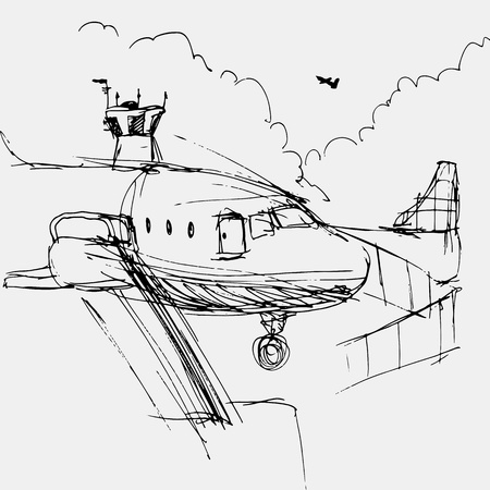 An image of an airport drawing. Vector