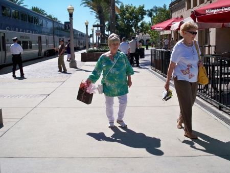 FULLERTON, CALIFORNIAUSA – March 8: Senior women departing from train station on March 8, 2008.
