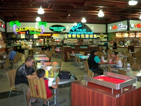 food court: LAS VEGAS, CALIFORNIAUSA –September 23: People dining at the food court at the outlet mall on September 23, 2008.