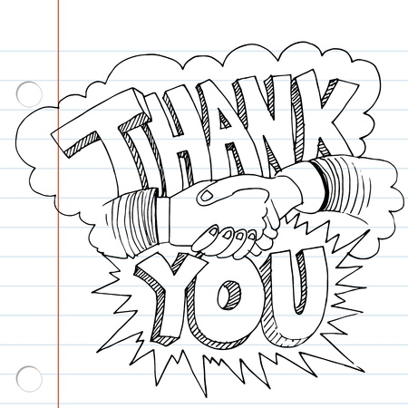 An image of a thank you handshake drawing. Vector