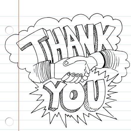 te negro: Una imagen de un dibujo gracias apretón de manos.