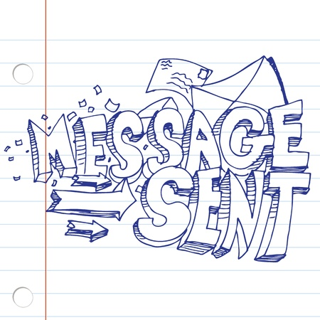sent: An image of a message sent drawing on notebook paper.
