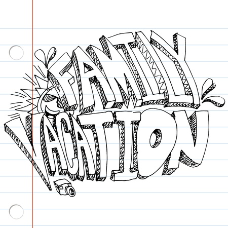 An image of a family vacation message drawing on notebook paper.