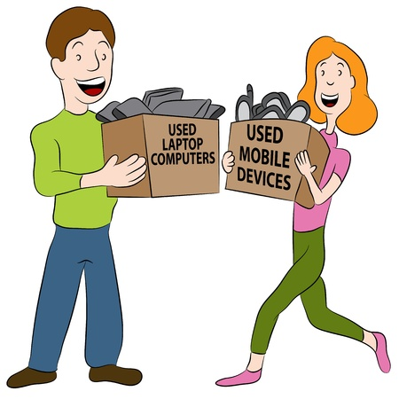 An image of a people holding boxes of used electronics Stock Vector - 20725064