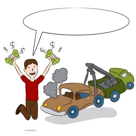 Een beeld van een man de verkoop van zijn oude auto naar een takelwagen chauffeur Stock Illustratie