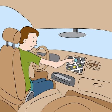 navigating: An image of a man using his car GPS navigation system