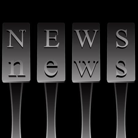 m�quina de escribir vieja: Una imagen de la m�quina de escribir antigua ortograf�a de la palabra noticias. Vectores