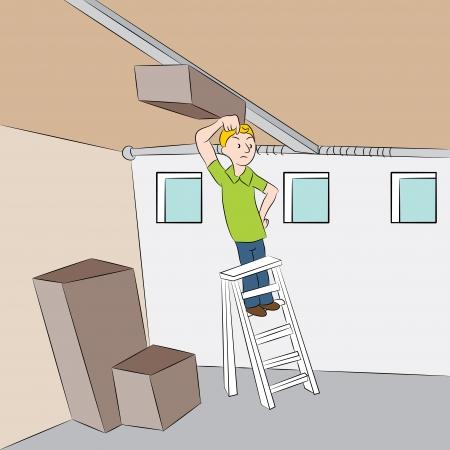 オープナー: 彼のガレージのドアのオープナを修復しようとすると、男のイメージ。  イラスト・ベクター素材