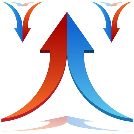 merging together: An image of 3d split arrows merging together. Illustration