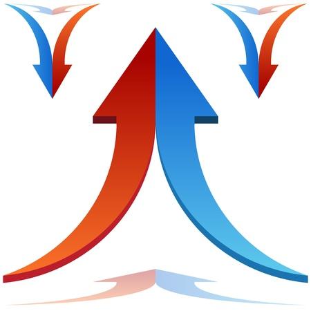 An image of 3d split arrows merging together. Stock Illustratie