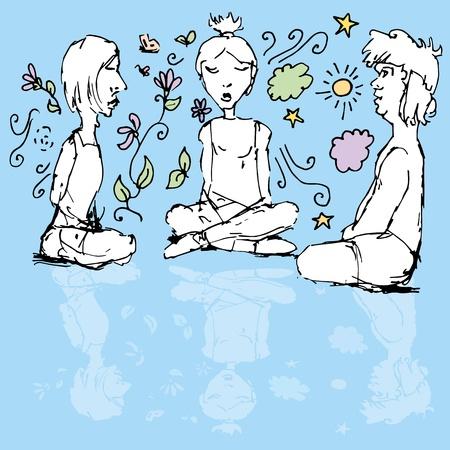 Een beeld van het mediteren mensen.