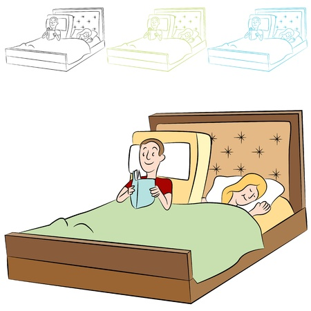An image of people in an adjustable bed.
