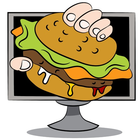 cheeseburger: An image of a online burger delivery cartoon.