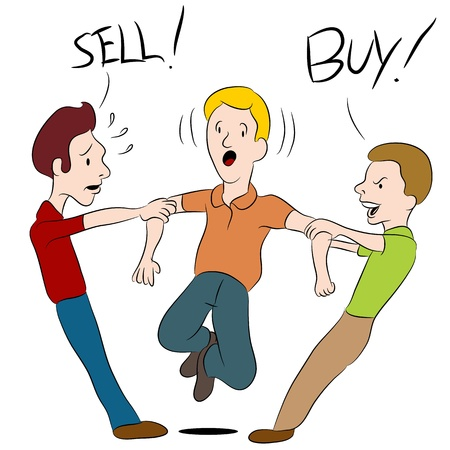caught: An image of a people arguing over whether to buy or sell. Illustration