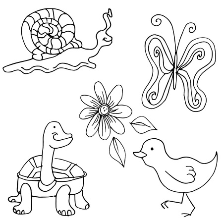 An image of nature creatures. Vector
