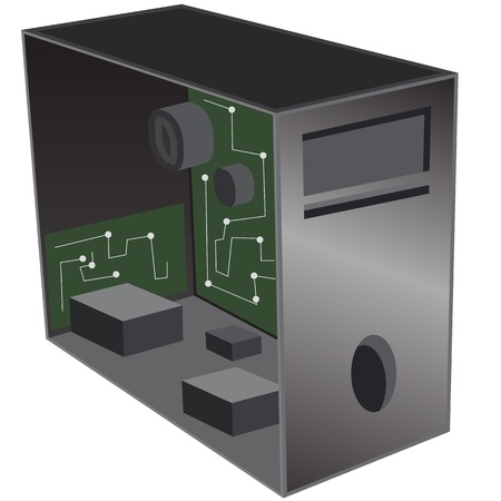 hardware: An image of a 3d computer desktop repair icon.
