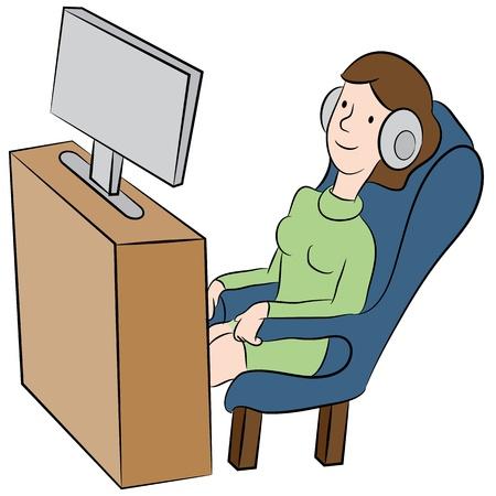ヘッドフォンでテレビを見ている女性のイメージ。  イラスト・ベクター素材