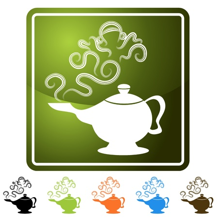 An image of a genie lamp icon set. Иллюстрация