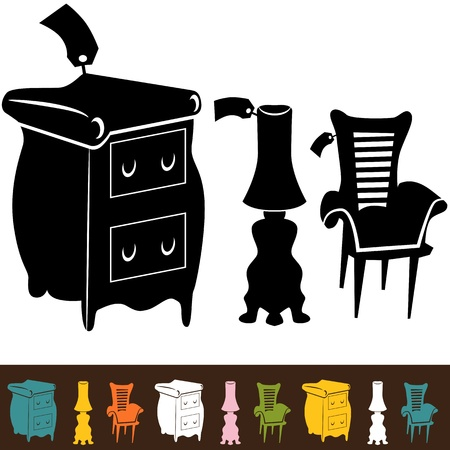 An image of a set of furniture icons.