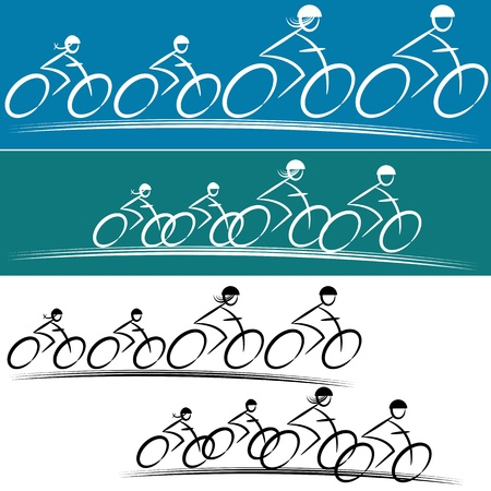 child safety: An image of a family of bike riders. Illustration