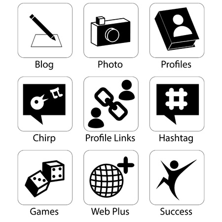 An image of social media icons. Vector