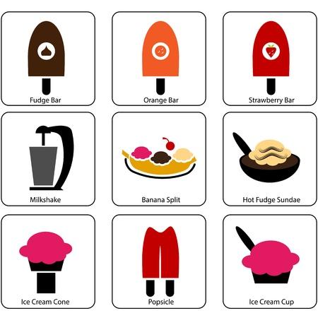 An image of ice cream parlor icons. Ilustração