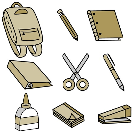 An image of school supply icons. Ilustracja