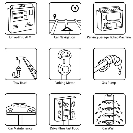 car wash: An image of car related icons. Illustration